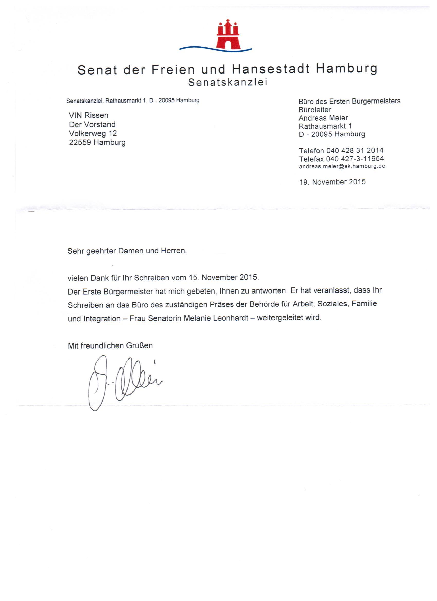Antwort Auf Unseren Brief Vom Ersten Bürgermeister Herrn Olaf Scholz